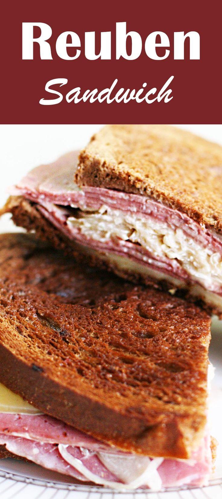 Reuben Sandwich ~ Classic reuben sandwich with corned beef, dark rye bread, Swiss cheese, sauerkraut, with Russian dressing! Great for your leftover #StPatricksDay corned beef!