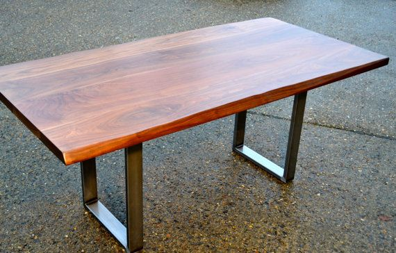 Large Dining Table Walnut Industrial Steel Base by WickedBoxcar