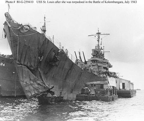 USS Saint Louis CL-49 after The Battle of Kolombangara, 07/13/1943. Took torpedo hit.