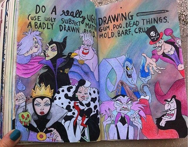 Faça um desenho muito feio. (Escolha um tema desagradável: gosma, cocô, coisas mortas, um desenho tosco, mofo, vômito, porcarias.) Destrua Este Diário.