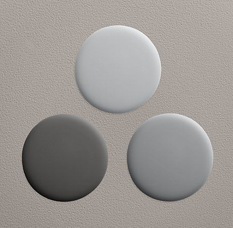 Restoration Hardware Grays:     -Lightest=Pumice  -Medium=Gravel  -Dark=Flint    *Not pictured: Charcoal.  Also pretty dark.  In between Gravel & Flint.