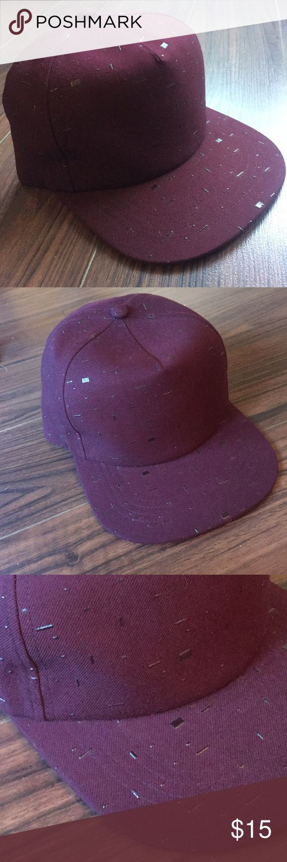 Burgundy Textured Baseball Cap Trendy Burgundy Baseball Cap with flat bill and   Textured pattern  🍕Tagged PacSun for exposure ✨🎁 Free Gift with any bundle! PacSun Accessories Hats