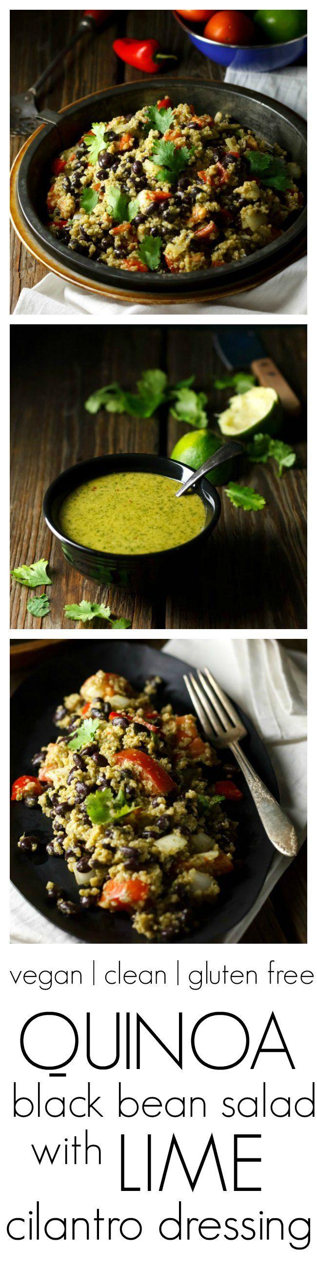 Quinoa Black Bean Salad with Lime Cilantro Dressing |