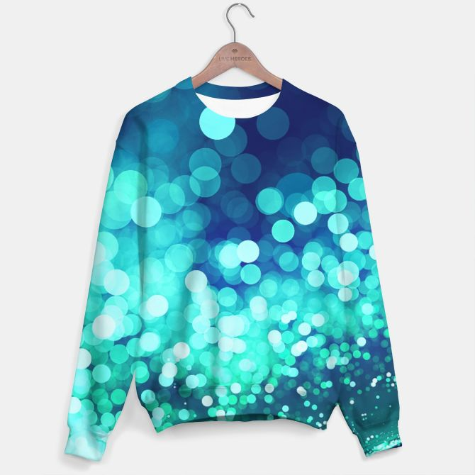 Aqua Blue Glitter Sparkles Sweater, Live Heroes  @liveheroes by @photography_art_decor. All product: https://liveheroes.com/en/brand/oksana-fineart #fashion #clothing #online #shop #design #geometry #metalic #bright #shine #psychedelic #abstract #metalic #abstract #briht #pattern #trendy #stylish #fashionable #modern #awesome #amazing #clothes  #glitter #bokeh #dots #sparkling #girly #twist #swirl #psychedelic #light #aqua #blue #marine #water #sparkles #night