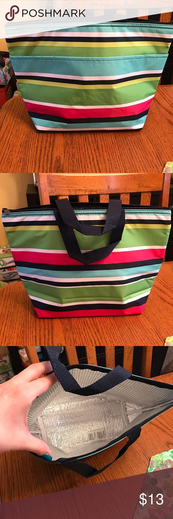 """Thirty One Thermal Tote A classic favorite! It's great for taking lunch on the go. Whether you need to keep your food cool or warm, it does the job. Great for school or work lunch, or for taking to a ballgame. Also great as a baby bag to keep bottles cold. Approx. 9.5""""H x 14""""L x 4.5""""D Color: Preppy Pop Thirty One Bags Totes"""
