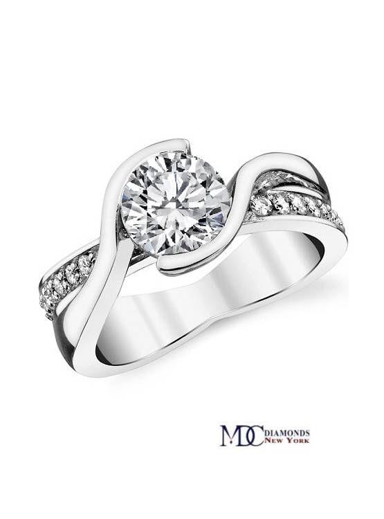 Semi Bezel Swirl Diamond Bridge Engagement Ring