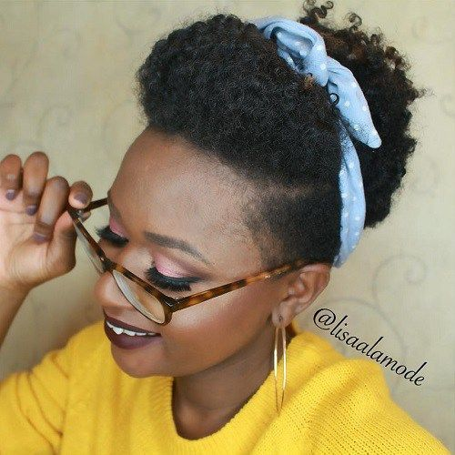 Short Natural Hairstyle With A Scarf