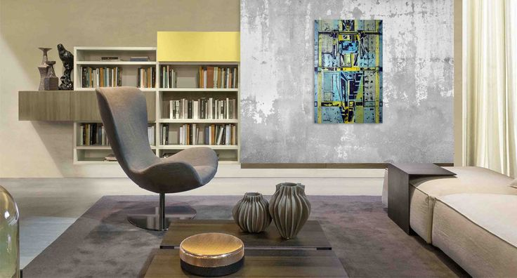 Modern living room and painting Supergirl 5 by @ania_luk_com