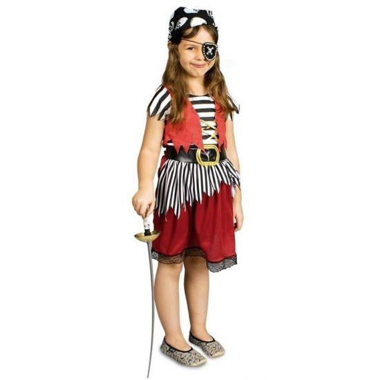 Voordelig piraten kostuum voor meisjes. Dit kostuum bestaat uit het jurkje en de riem. Overige accessoires zijn los verkrijgbaar. Materiaal jurkje: 100% polyester.