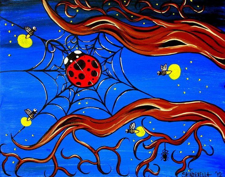 Firefly Friends by Skinderella Lady Bug in Web Canvas Art Giclee Print – moodswingsonthenet