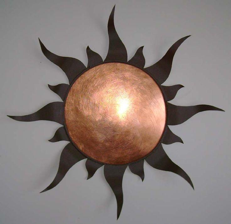 "Copper Rays. 26""Wx26""Hx3""D. Textured Dark Brown.Copper  adorningmetal.com"