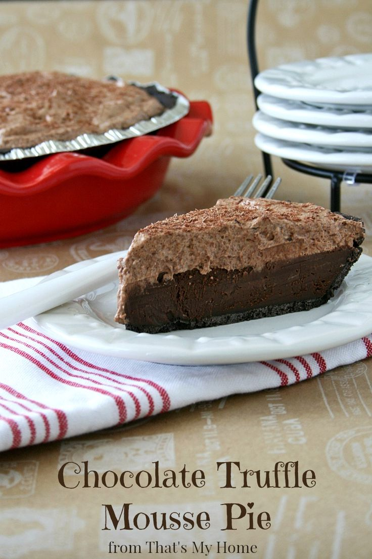 Chocolate Truffle Mousse Pie - A layer of my favorite chocolate silk pie with a creamy layer of chocolate mousse. This pie literally melts in your mouth! #chocolatetrufflemoussepie #chocolaterecipes #chocolatetruffles