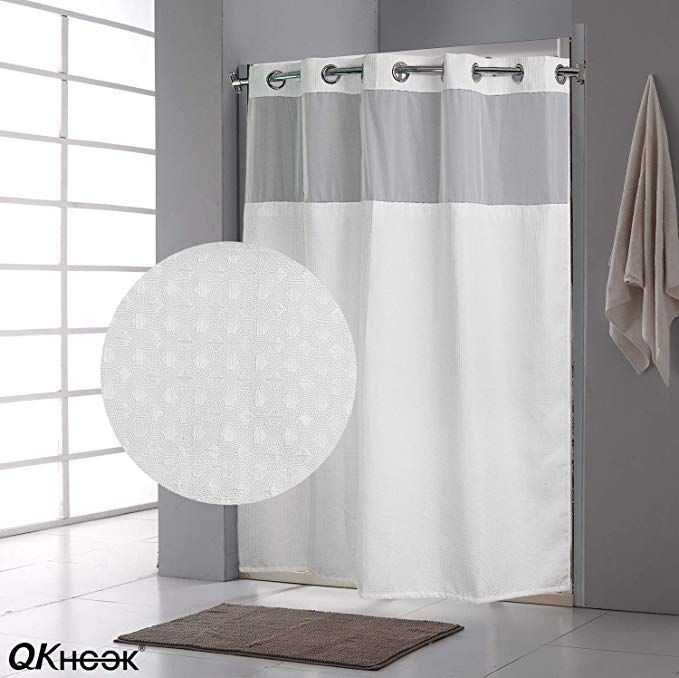 Amazon Com Qkhook Hookless Shower Curtain With Snap In Liner 1 Pack 71x77 Inches Mildew Resistan Hookless Shower