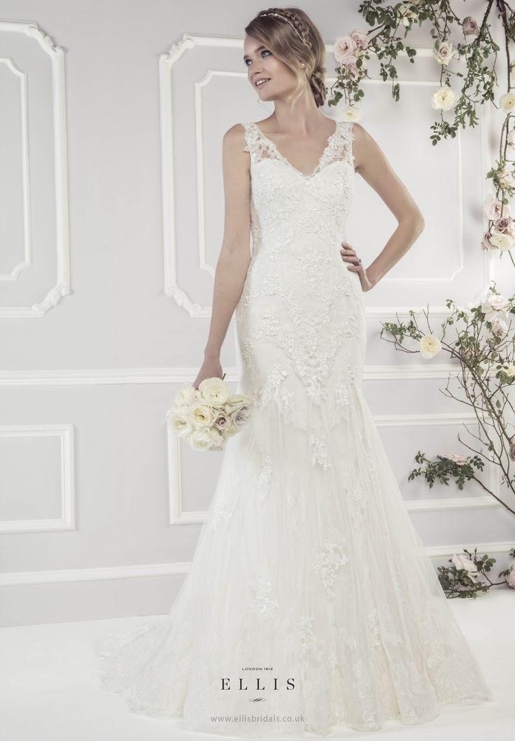 Style 11433 'Elegant Soft Tulle Fluted Dress with Appliqué Guipure Lace Motifs' | itakeyou.co.uk