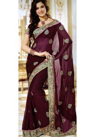 Utsav Fashion : wine-faux-chiffon-saree-with-blouse