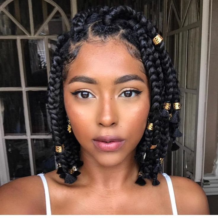 Short Box Braids Natural Hair Protective Style Natural Hair Styles Braided Hairstyles Box Braids Styling