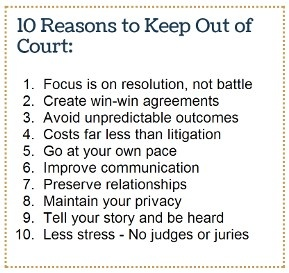 www.KeepOutOfCourt.com is an educational resource for learning more about resolving your case outside of court. Find out more about mediation and Collaborative Law at www.keepoutofcourt.com.