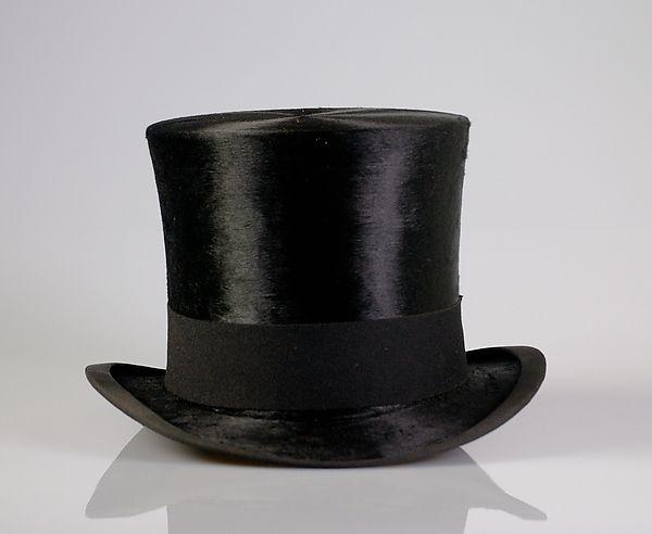 Evening top hat 1905, Scott & Company (British), Fur, silk, leather, British