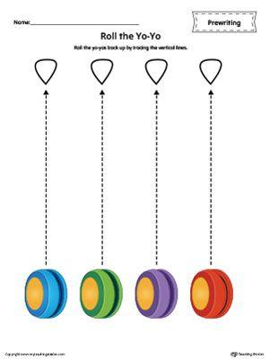 YoYo Line Tracing Prewriting Worksheet in Color | Pre ...