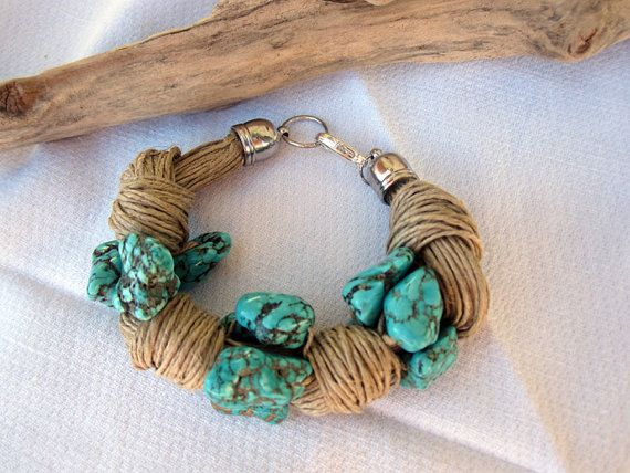 Bracelet linen turquoise  knots eco chic cool summer by espurna88, €23.30
