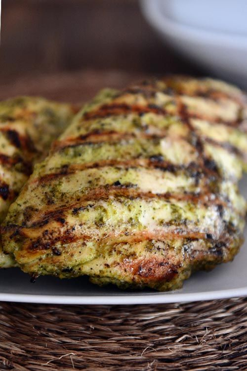 Pesto Marinated Grilled Chicken - My Kitchen Cafe2 pounds boneless, skinless chicken breasts 1 cup pesto (storebought or homemade) 1/4 cup rice vinegar 1 teaspoon salt 1 teaspoon sugar 2hrs in a bag, grill 5-6 min/side (to 160 degrees)