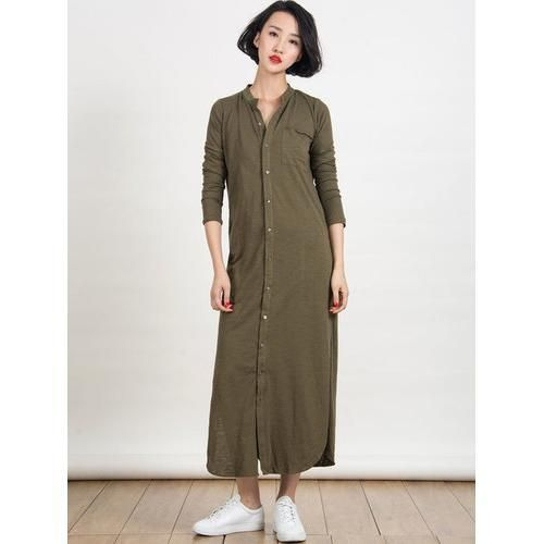 Army Green Button Up Side Split Longline Shirt Dress D902-CZA782