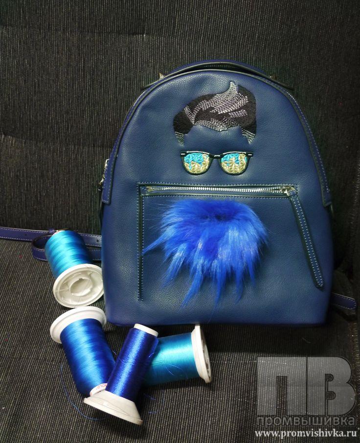 Машинная вышивка на рюкзаке и декор мехом