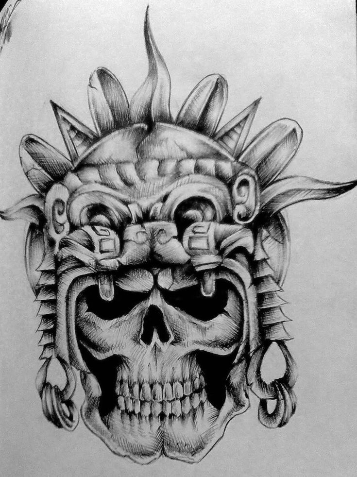 33 best Aztec Skull Tattoos Designs Drawings images on ...