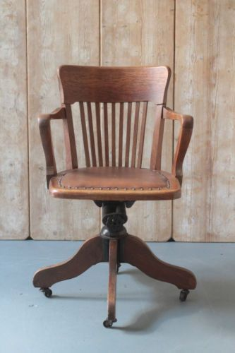 Antique Captains Swivel And Tilt Chair Vintage Office