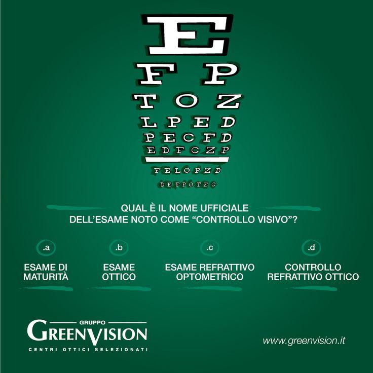 Il controllo della vista ha un nome ufficiale. #GreenVisionQuiz