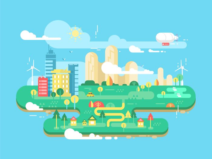 Green+city+flat.+Cityscape+and+energy+town,+tree+and+building,+architecture+urban,+vector+illustrationVector+files,+fully+editable.