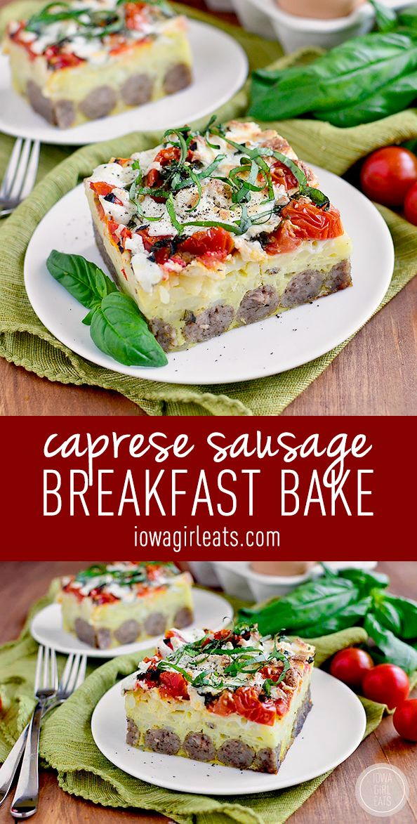 Caprese Sausage Breakfast Bake is an incredibly easy and satisfying gluten-free brunch recipe. Fresh, cheesy, and delicious!