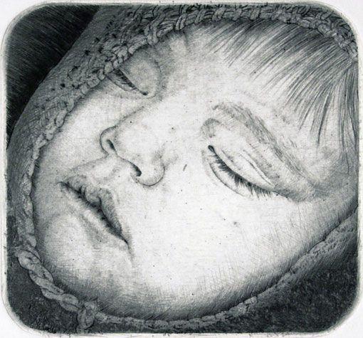 Arne Bendik Sjur. Anna - Lina, 1996. Drypoint. Edition of 18. 3-1/4 x 3-1/2 inches.