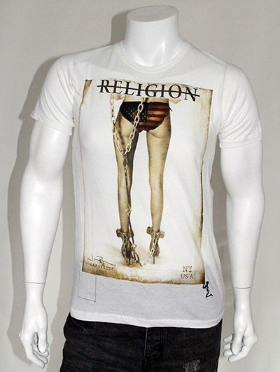 RELIGION Clothing High Heels Chain Gang Sexy NY USA Printed T Shirt- White S-XL #Religion