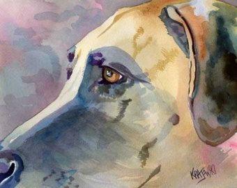 Great Dane Art print van een originele aquarel schilderij - 8 x 10 hond kunst
