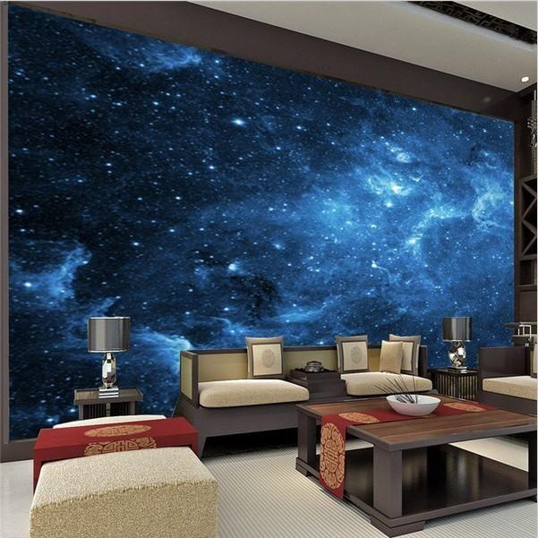 Blue Galaxy And Stars Wallpaper For Walls Universe Wall Mural Wallpaper Bedroom Wall Decor Bedroom Room Decor