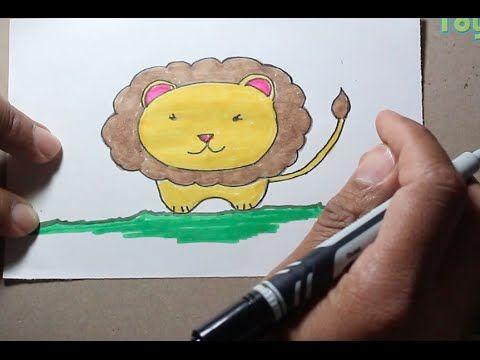 Como dibujar un simpático león estilo kawaii.