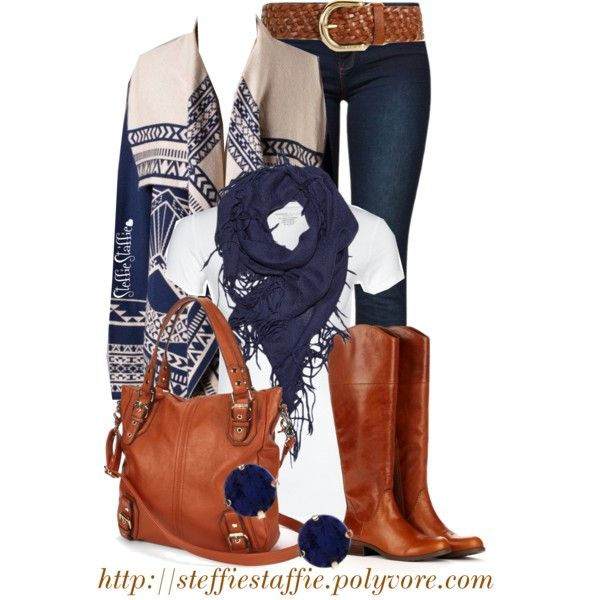 """Aztec Cardigan, Fringe Scarf & Cognac"" by steffiestaffie on Polyvore"