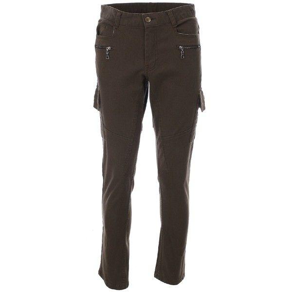 FLATSEVEN Mens Slim Fit Cargo Pants Trouser Premium Cotton found on Polyvore