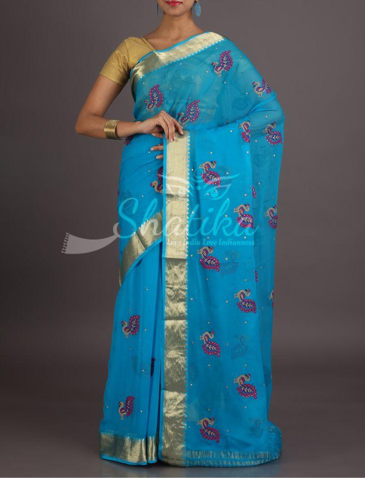 Sanjana Sky Blue With Colorful Peacock Motifs Zari Border Pure Mysore Chiffon Saree