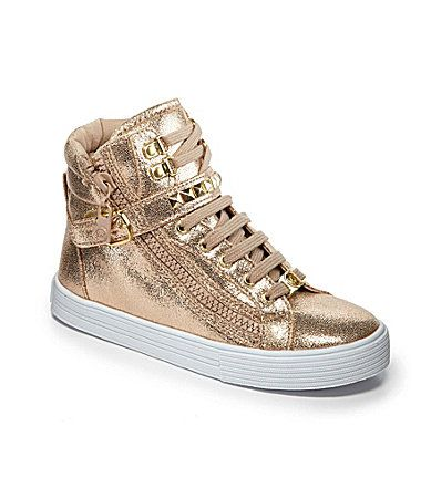 MICHAEL Michael Kors Girls Ivy Shine High Top Sneakers #Dillards So getting these for Row! Love them!