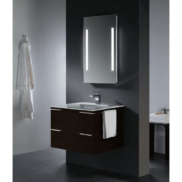Photographic Gallery Vigo Single Bathroom Vanity with Mirror and Lighting System Red Oak