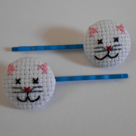SALE Kitten cross stitch bobby pins by MaMagasin on Etsy, £4.50