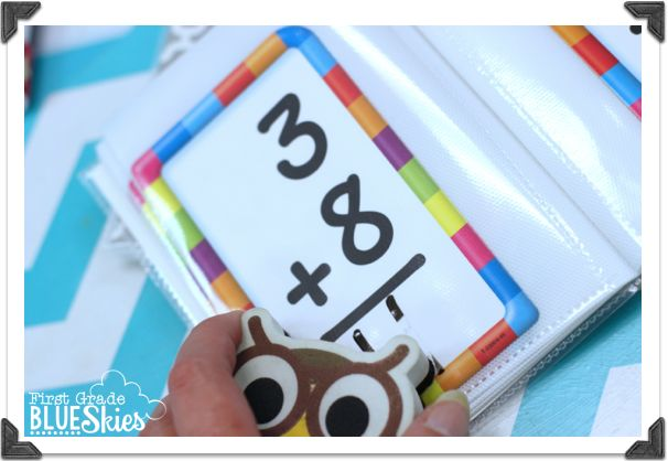 Use cheap photo albums and flash cards as a dry as a math station