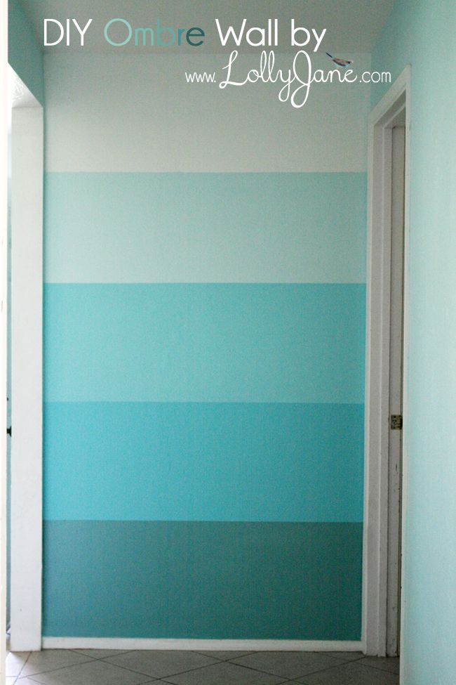 Ombre Accent Wall - Paint your own ombre (light to dark shades) focal wall! Full DIY tutorial here: http://lollyjane.com/wp-content/uploads/2012/08/aqua-turquoi…