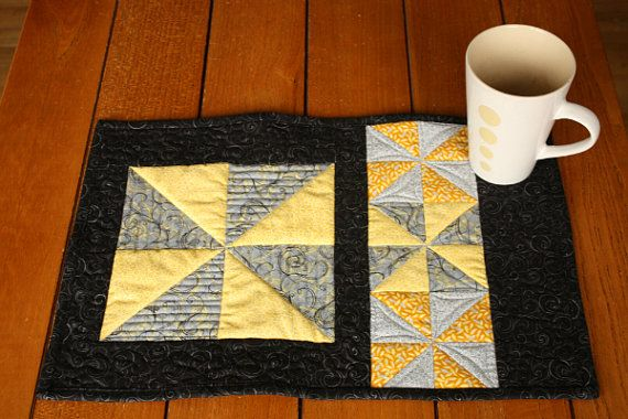 Beautiful quilted placemats in elegant black, grey and yellow.