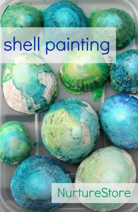 Shell painting techniques : beautiful kids art project for a beach theme