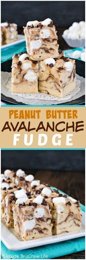 Peanut Butter Avalanche Fudge - this creamy no-bake peanut butter fudge is loaded with chocolate, marshmallows, and cereal. Easy recipe to make for holiday parties and cookie exchanges!
