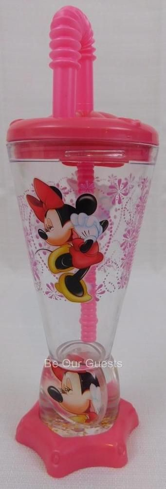 Disney Theme Park Minnie Mouse Daisy Duck Plastic Pink Cup with Straw New
