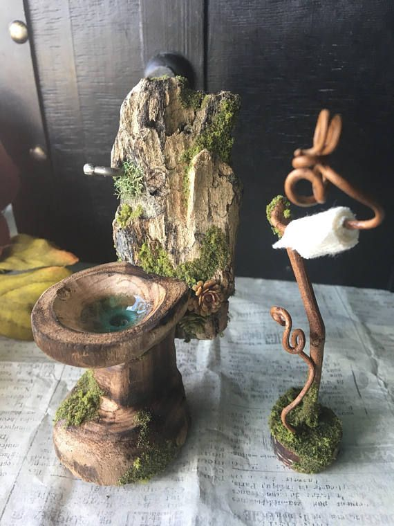 Faery Bathroom Set Fairy Furniture Miniature Toilet Fairy Furniture Fairy Garden Furniture Fairy Garden Gnomes